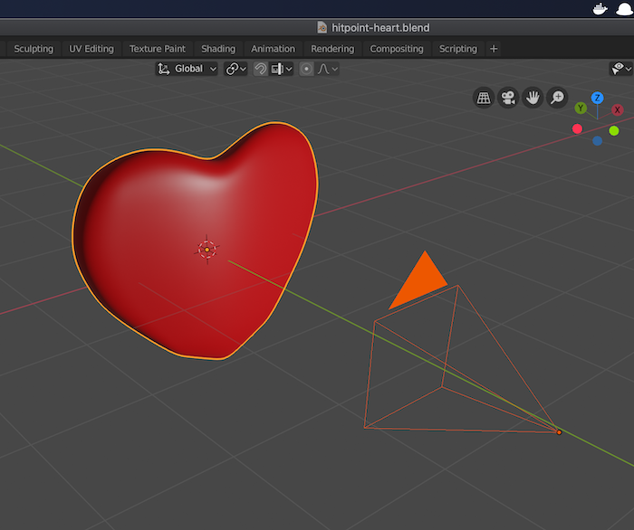 Hitpoint heart in Blender